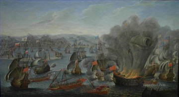 Warship Painting - Combate Naval De Palermo 1676 Pierre Puget Sea Warfare