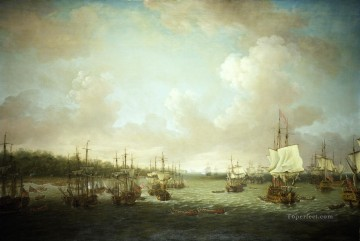 Battles Art Painting - Dominic Serres the Elder The Capture of Havana 1762 Landing Cannon and Stores Naval Battles