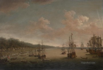 Battles Art Painting - Dominic Serres the Elder The Capture of Havana 1762 the Landing Naval Battles