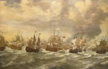 Four Day Battle Episode uit de vierdaagse zeeslag Willem van de Velde I 1693 Naval Battles Oil Paintings