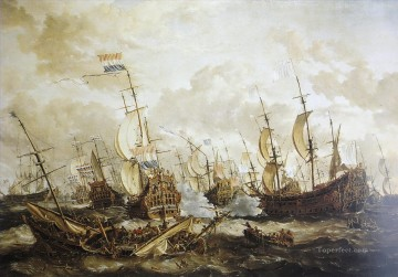 Four Days battle Naval Battles Oil Paintings