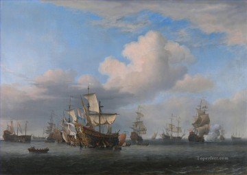 Four days Battle 2 Naval Battles Oil Paintings