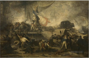 Hendrik Frans Schaefels The Algeciras at the Battle of Trafalgar Naval Battles Oil Paintings