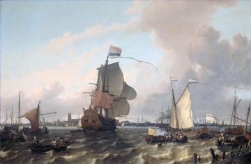 battleship warship war ship Painting - Het oorlogsschip The warship Brielle on the Maas before Rotterdam Ludolf Backhuysen 1689