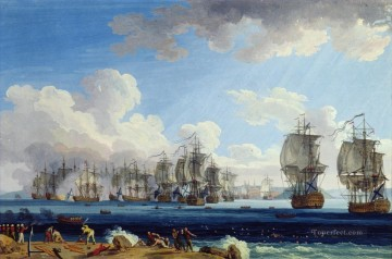 Jacob Philipp Hackert Die Schlacht von Cesme 1770 Naval Battles Oil Paintings