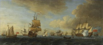 Warship Painting - John Cleveley the Elder An English frigate under sail firing a gun with shipping at anchor and under sail