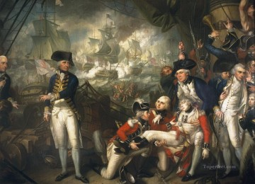 Lord Howe on the deck of HMS Queen Charlotte 1794 Naval Battles Oil Paintings