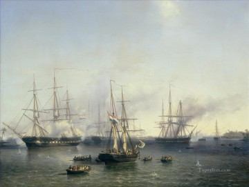 Louis Meijer De overmeestering van Palembang Naval Battles Oil Paintings