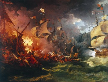 Loutherbourg Spanish Armada Naval Battles Oil Paintings
