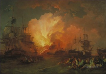 Battles Art Painting - Phillip James De Loutherbourg The Battle of the Nile Naval Battles