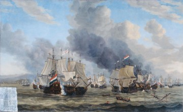 battleship warship war ship Painting - Reinier Nooms De zeeslag bij Livorno war ships
