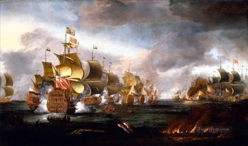 Warship Painting - The Battle of Lowestoft 3 June 1665 Engagement between the English and Dutch Fleets by Adriaen Van Diest