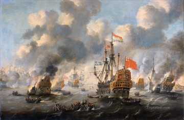The Dutch burn down the English fleet before Chatham 1667 Peter van de Velde Naval Battles Oil Paintings