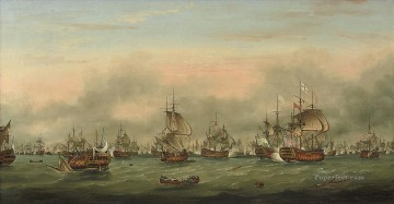 Sainte Painting - Thomas Mitchell The battle of the Saintes Sea Warfare