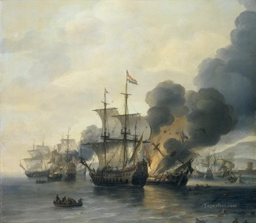 Van Diest Battle of Leghorn Naval Battles Oil Paintings