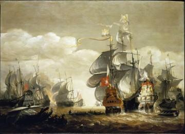 Van Minderhout Battle of Lowestoft Naval Battles Oil Paintings