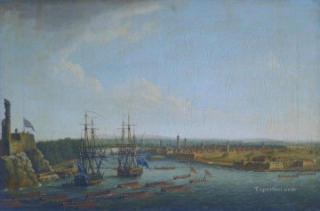 View of the Siege of Havana I by Dominic Serres Naval Battles Oil Paintings