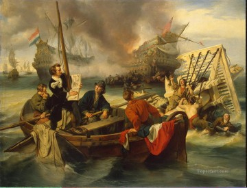 Willem van de Velde Sketching a Sea Battle Oil Paintings