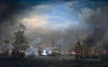 Warship Painting - battle of texel august 21 1673 1707