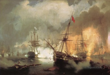 morskoe srazhenie pri navarine goda 1846 war ships Oil Paintings