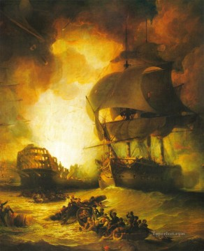 Warship Painting - overboard on sea battle