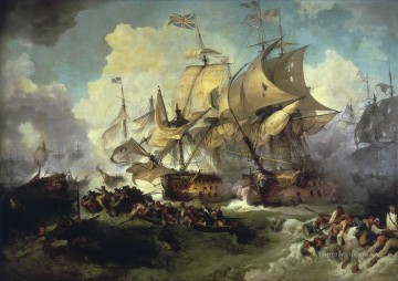 battleship warship war ship Painting - the battle of the first of june 1794 warships