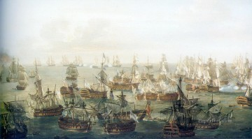 seascape mediterranean sea venice boat ship waterscape Painting - war on sea Trafalgar war ships