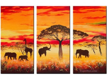 elephants under trees in sunset woods forest Oil Paintings