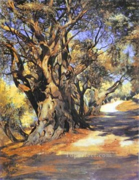Polish Oil Painting - Road from Rome to Albano Polish landscape Henryk Siemiradzki woods forest