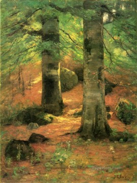 Woods Painting - Vernon Beeches Impressionist Indiana landscapes Theodore Clement Steele woods forest