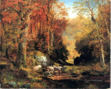 Woods Painting - Cresheim Glen Wissahickon Autumn landscape Thomas Moran woods forest