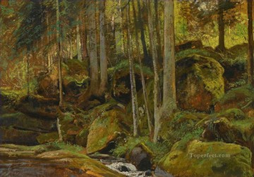 stream Painting - FOREST STREAM classical landscape Ivan Ivanovich trees