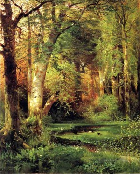 Woods Painting - Forest Scene landscape Thomas Moran