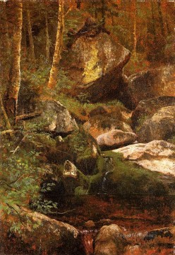 Woods Painting - Forest Stream Albert Bierstadt