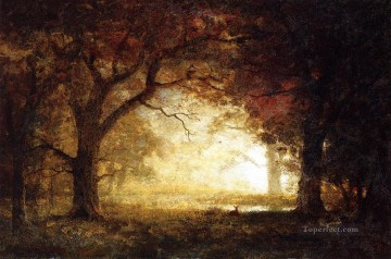 Woods Painting - Forest Sunrise Albert Bierstadt