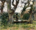 Italian Landscape with a Fountain impressionism landscape Theodore Robinson woods forest