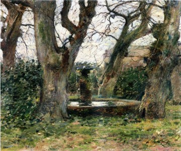 Italian Landscape with a Fountain impressionism landscape Theodore Robinson woods forest Oil Paintings