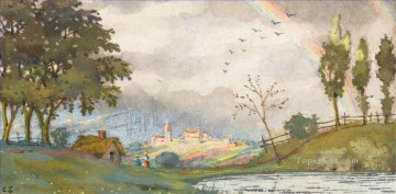 landscape Painting - LANDSCAPE WITH RAINBOW Konstantin Somov woods trees