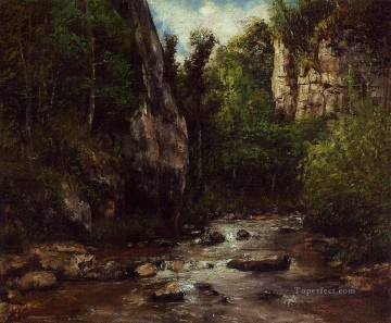 Woods Painting - Landscape near Puit Noir near Ornans Realism Gustave Courbet woods forest