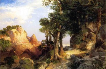 Woods Painting - On the Berry Trail Grand Canyon of Arizona landscape Thomas Moran woods forest