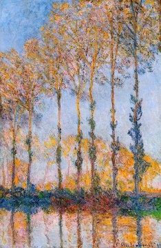 Poplars White and Yellow Effect Claude Monet woods forest Oil Paintings