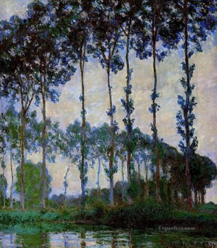树林绘画 - Poplars on the Banks of the River Epte Overcast Weather 莫奈 小树林 森林