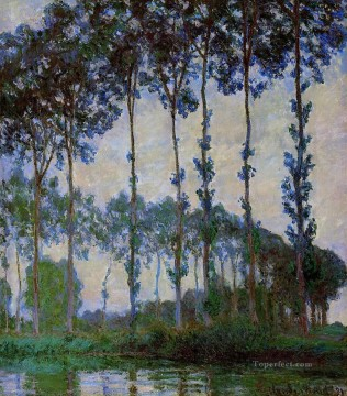 Woods Painting - Poplars on the Banks of the River Epte at Dusk Claude Monet woods forest