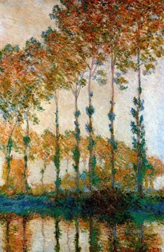 Woods Painting - Poplars on the Banks of the River Epte in Autumn Claude Monet woods forest