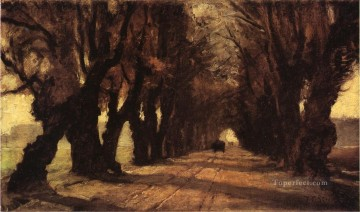 Indiana Oil Painting - Road to Schleissheim Impressionist Indiana landscapes Theodore Clement Steele woods forest