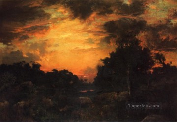 Woods Painting - Sunset on Long Island landscape Thomas Moran woods forest