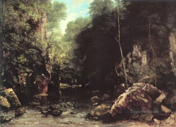 stream Painting - The Shaded Stream The Stream of the Puits Noir landscape Gustave Courbet woods forest