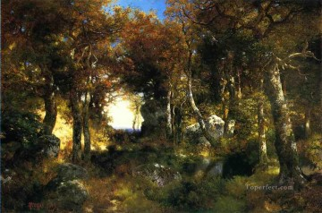 The Woodland Pool landscape Thomas Moran woods forest Oil Paintings