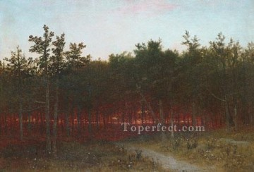 Woods Painting - Twilight In The Cedars At Darien Connecticut scenery John Frederick Kensett woods forest