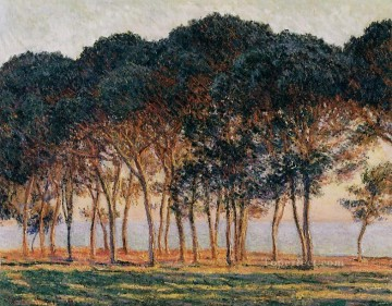 Woods Painting - Under the Pine Trees at the End of the Day Claude Monet woods forest